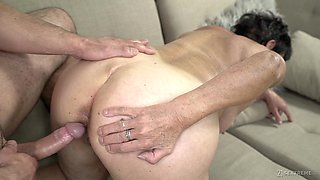 Mature short haired granny Hettie gets her mouth filled with cum