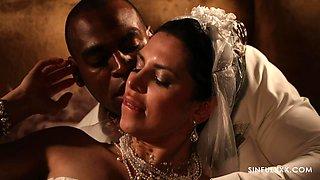 Romantic interracial sex between cute bride Kira Queen and her hubby