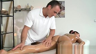 Oily massage continued sex