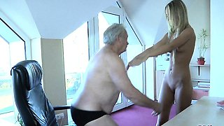 Old man fucks his young dummy blonde maid