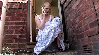 Blonde british babe tells you off