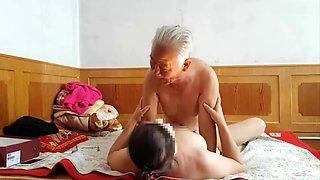 Chinese grandpa making grandma cum hard