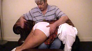 Spanked on thigs then on sticky white panties and slippered on short pyjamas to finishh
