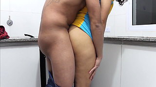 I fuck brother's wife in the kitchen