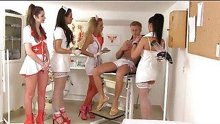 4 Nurses doing CFNM Medical Exam