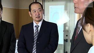 Sweet Japanese girls flashing sexy panties at a meeting