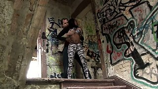 Nelly gets her beautiful black ass fucked hard in an old,