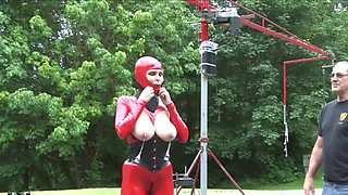 in red latex catsuit