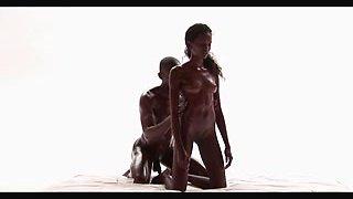 Ebony couple masturbates in sensual xxx massage clip