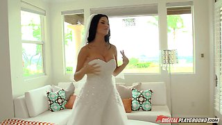 Beautiful bride in bed with a stud that pounds her pussy