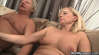 Slutty bitch rides his father's dick
