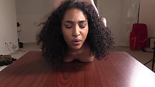 18yo Curly Haired Annette Gets Her Tight Back Door Banged!