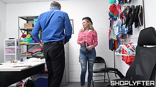 Fucking between a security guard and cock hungry Adira Allure