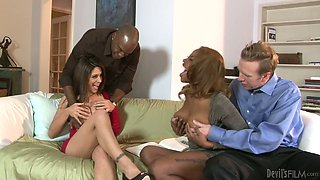 Open-minded couples switch their partner for hot swingers fuck session