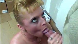 Older Blond Slut Sucks Major Prick