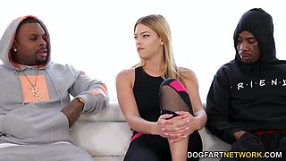 Two huge black dicks attack white babe Leah Lee from the both sides