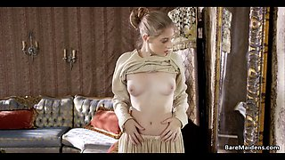 younger maid plays with her pussy in her lady's room