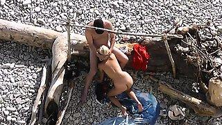 Nude wife shared on public beach