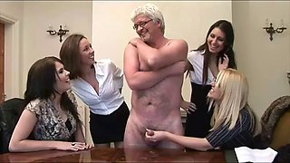 4 British Clothed Hot Females Tease Naked Fat Old Male Fondle Balls Wank Off Hard Cock
