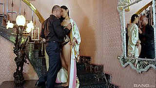Erotic fucking on the bed between Japanese babe Katana and her lover